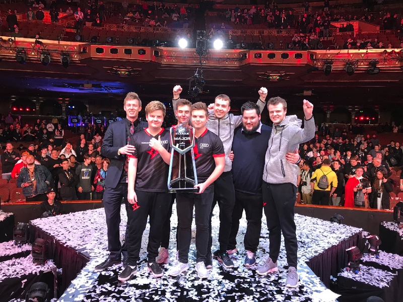Astralis after winning the ELEAGUE Major 2017 at the Fox Theater in Atlanta, Georgia via Astralis.