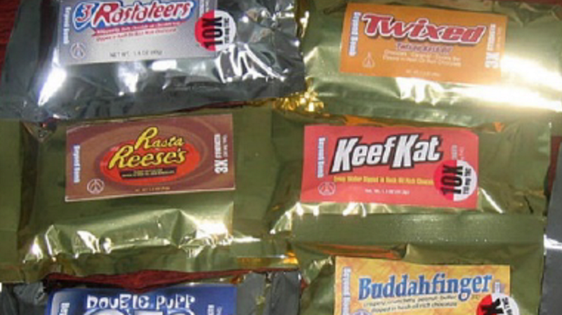 Marijuana edibles, pictured here in a low-resolution image provided by the DEA.