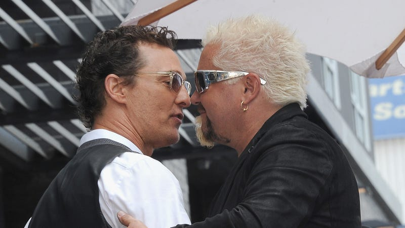 Matthew McConaughey and Guy Fieri onstage at Guy Fieri's Star Ceremony On The Hollywood Walk Of Fame on May 22.