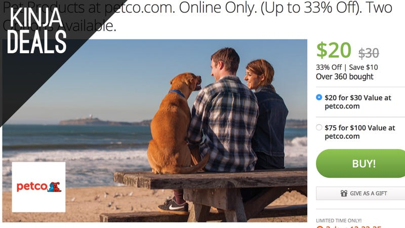 Illustration for article titled Save $10-$25 on a Petco.com Gift Card, Courtesy of Groupon