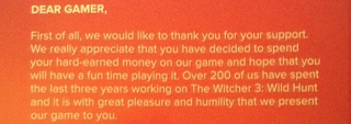 Illustration for article titled The Witcher 3 Has A Heartfelt Thank You Note Inside