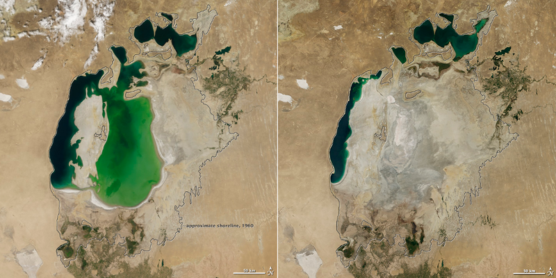 Illustration for article titled The Shrinking Aral Sea Has Been Reduced To A Mere Sliver