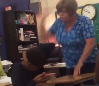 Video footage that authorities say shows Beaumont, Texas, high school teacher Mary Hastings slapping a student several timesYouTube screenshot