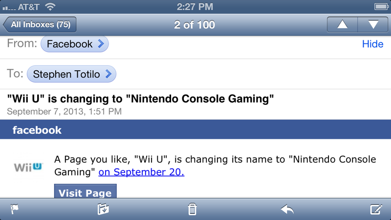 Illustration for article titled Nintendo's Official Wii U Facebook Page Gets A Weird Name Change