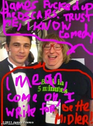 Illustration for article titled James Franco Attacks Oscars Writer For Bashing His Hosting Skills