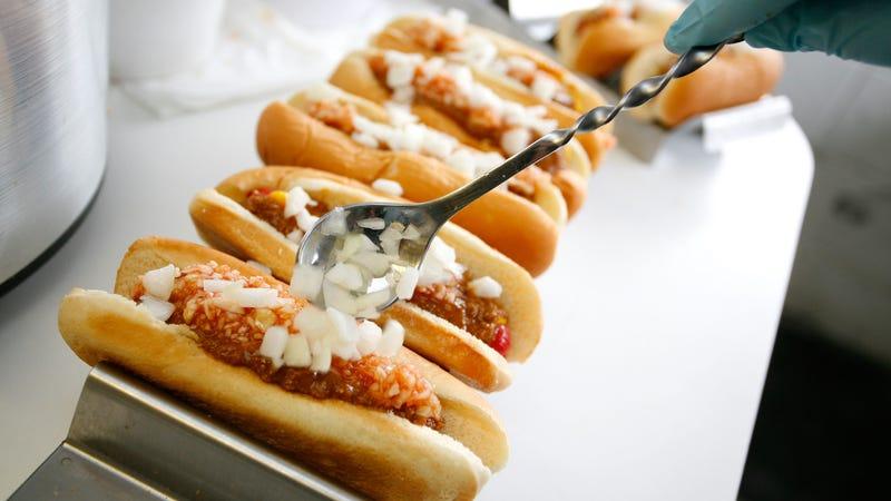 Hot dogs being prepared at Martinsville Speedway