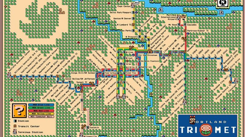 Illustration for article titled These Super Mario Bros. transit maps will take your commute to the next level