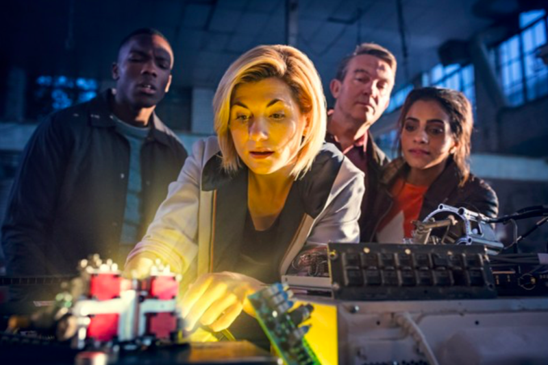 The Thirteenth Doctor and her new companions jumping right into the action.
