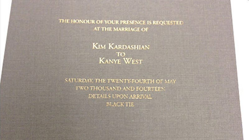 Illustration for article titled Gaze Upon the Glory of the Kimye Wedding Invitation