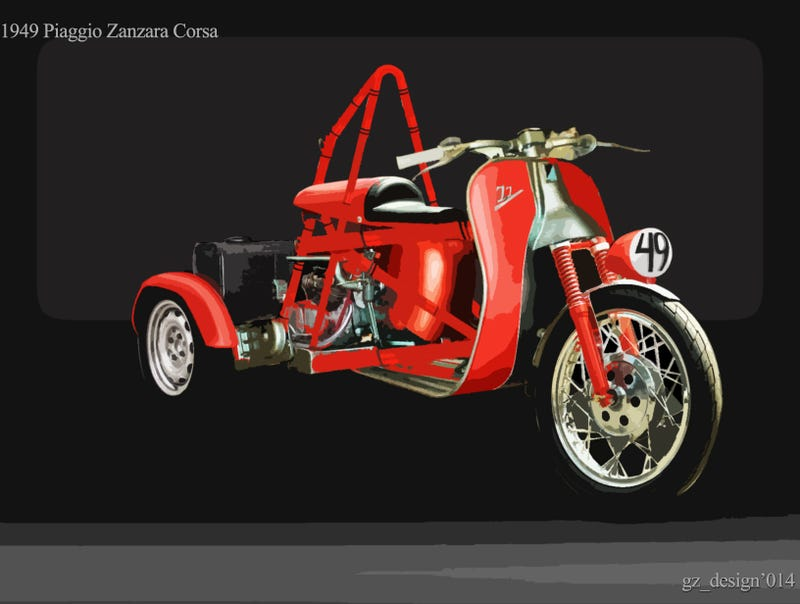 Illustration for article titled How Would It Have Looked Like: '49 Ariel Atom (Piaggio Zanzara)