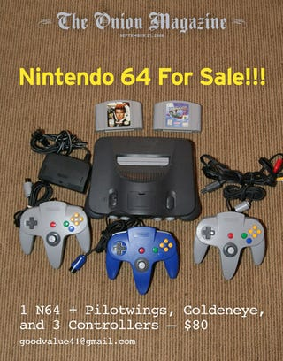 N64 For Sale!!!