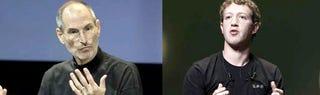 Illustration for article titled Steve Jobs and Mark Zuckerberg Break Bread, Talk Ping?