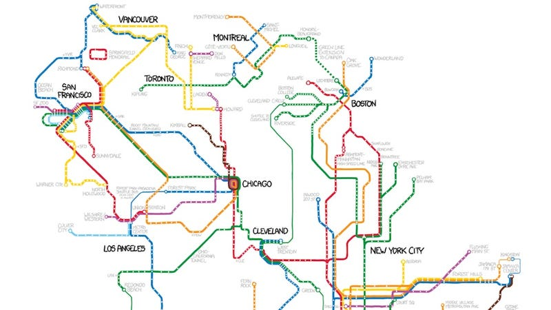 Illustration for article titled Every subway system in North America, connected