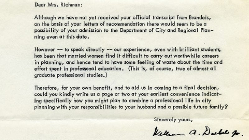 Illustration for article titled Accomplished Lady Finally Replies to Crap Letter from Harvard C. 1961