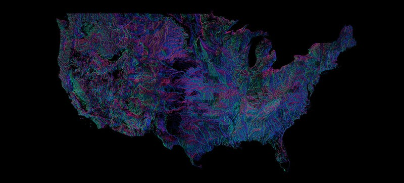 Illustration for article titled Every River in the U.S., Colored According to the Way It Flows