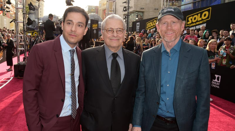 Lawrence Kasdan (middle) with son and Solo co-writer Jonathan Kasdan (left) and director Ron Howard (right).