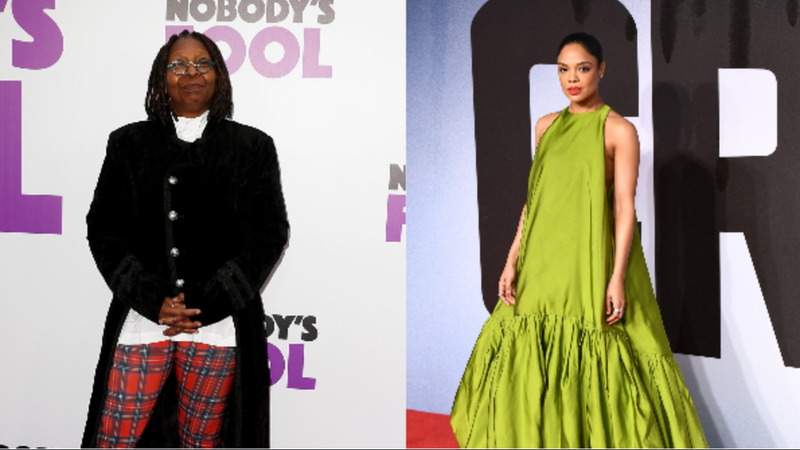 (L-R): Whoopi Goldberg attends 'Nobody's Fool' New York Premiere on October 28, 2018 in New York City. Tessa Thompson attends the European Premiere of 'Creed II' on November 28, 2018 in London, England.