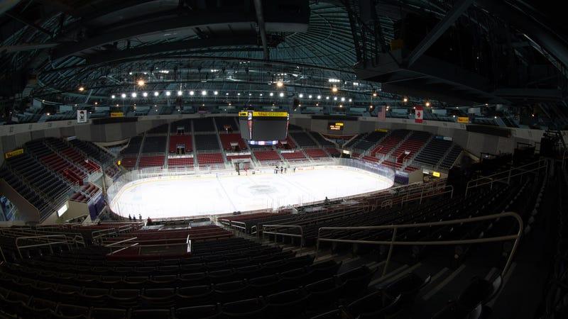 The empty arena in Charlotte. (Photo via Charlotte Checkers)