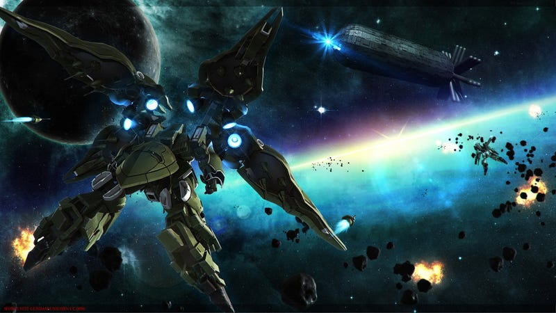 Illustration for article titled Kickass Gundam space battle! That is all!