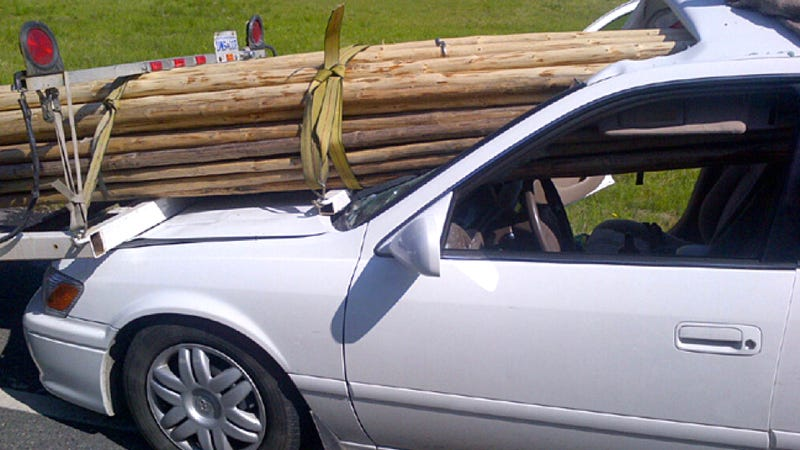Illustration for article titled Woman Survives Crash That Sent All These Poles Through Her Windshield
