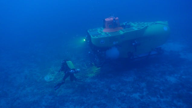 A scientist and submersible collect samples and explore the seafloor.