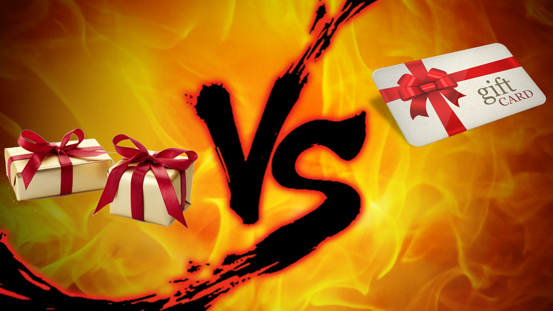 fbb780b2109ad Illustration for article titled Gift-Giving Showdown  Gift Cards vs. Actual  Gifts