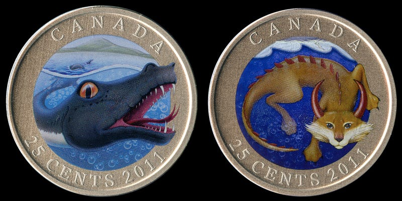 Illustration for article titled Canadian cryptid coins are the most bad-ass currency in the history of legal tender