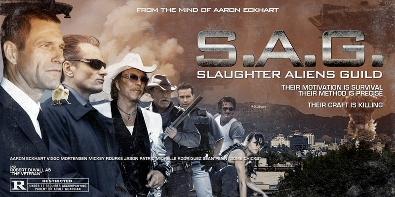 Illustration for article titled Aaron Eckhart assembles his dream team of alien-killing actors