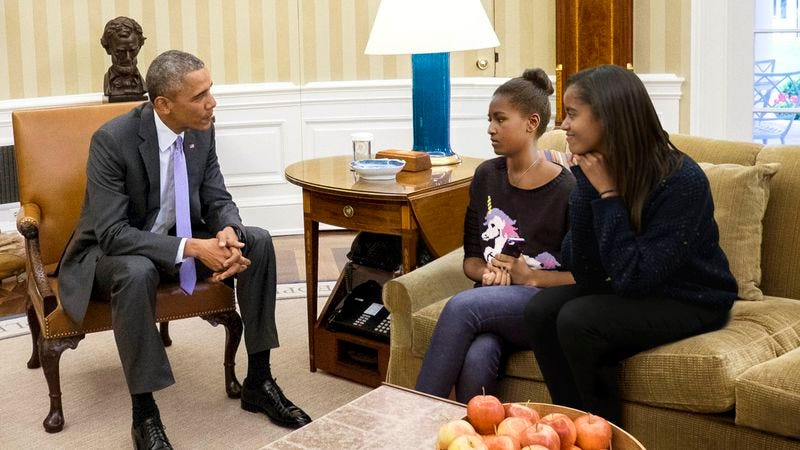Illustration for article titled Obama Finally Reveals Nature Of His Work To Daughters