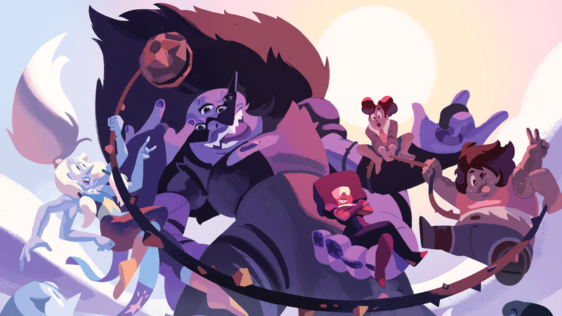 Opal, Sugilite, Garnet, Stevonnie, and Smoky Quartz hanging out.