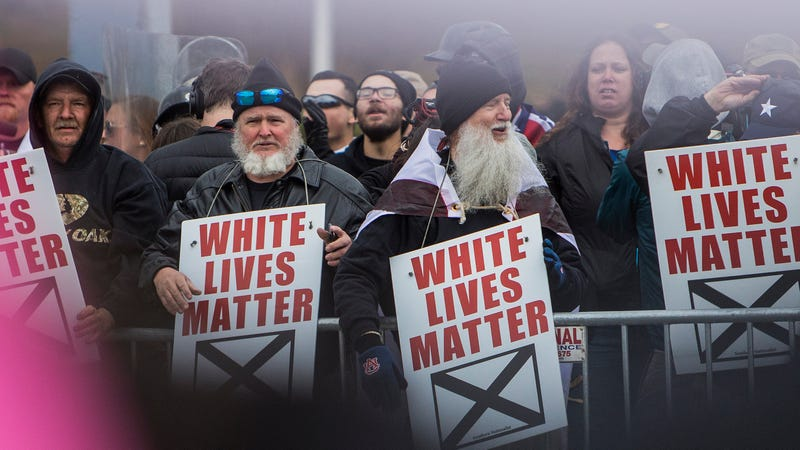 """White Lives Matter"" protesters demonstrate during a rally Oct. 28, 2017, in Shelbyville, Tenn. (Joe Buglewicz/ Getty Images)"