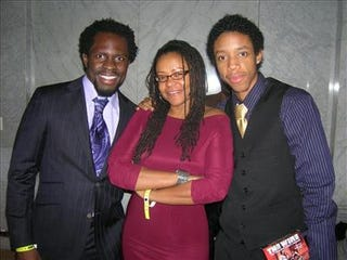 Darrell Britt-Gibson,right, with his mother Donna Britt and Gbenga Akkinagbe, who plays Chris Partlow