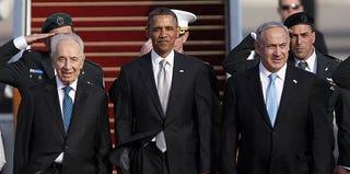 Israeli President Shimon Peres, U.S. President Barack Obama and Israeli Prime Minister Benjamin Netanyahu (Lior Mizrahi/Getty)