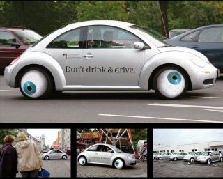 Illustration for article titled Googly-Eyed Drunken VW Beetle Pushes Anti-Drunk Driving Message