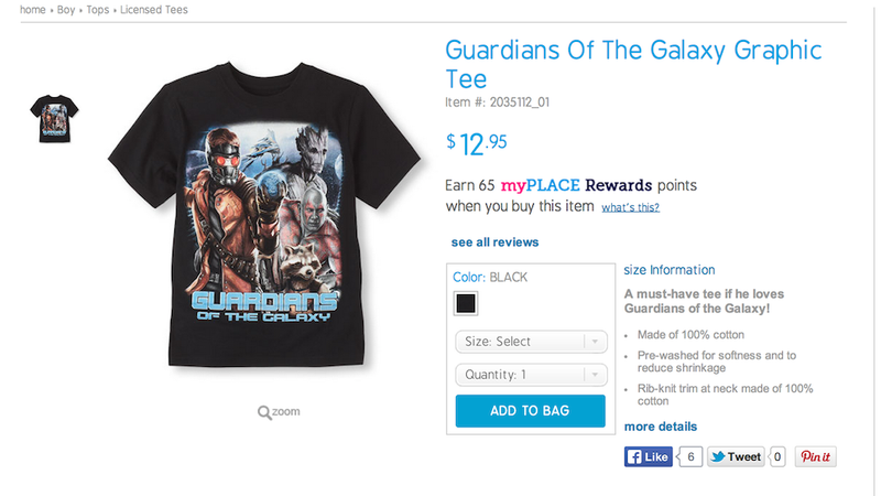 Illustration for article titled Gamora Not Included on Guardians of the Galaxy Tee Since It's for Boys