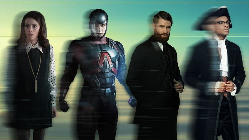 From left to right: Timeless, Legends of Tomorrow, Time After Time, Making History / Graphic: Nick Wanserski