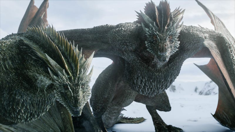 Rhaegal and Drogon.