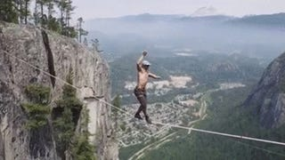 Watch a Guy Slack Line Between Two Cliffs a Thousand Feet off the Ground