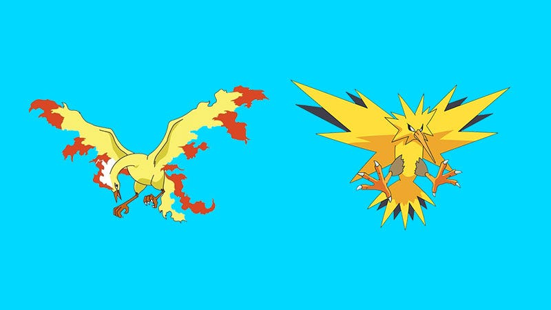 Illustration for article titled Pokémon Go's Next Two Legendaries Are Moltres And Zapdos