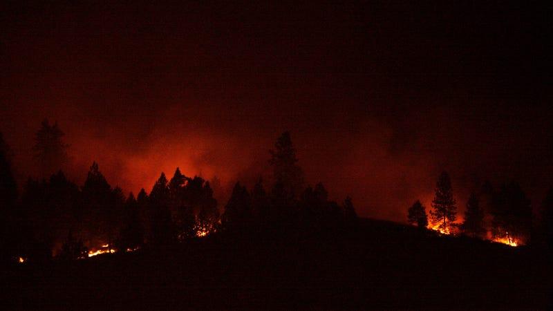 A brush fire in Spokane Valley, Washington, in 2008.