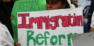 Immigration activists protest in New York City. (Spencer Platt/Getty Images)