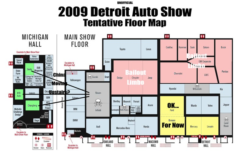 Illustration for article titled 2009 Detroit Auto Show: A Very Unofficial Floor Map