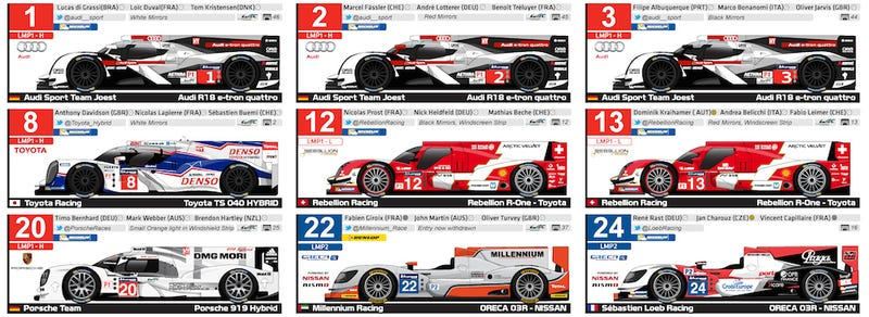 Illustration for article titled Here's Your Spotter's Guide For The 24 Hours Of Le Mans