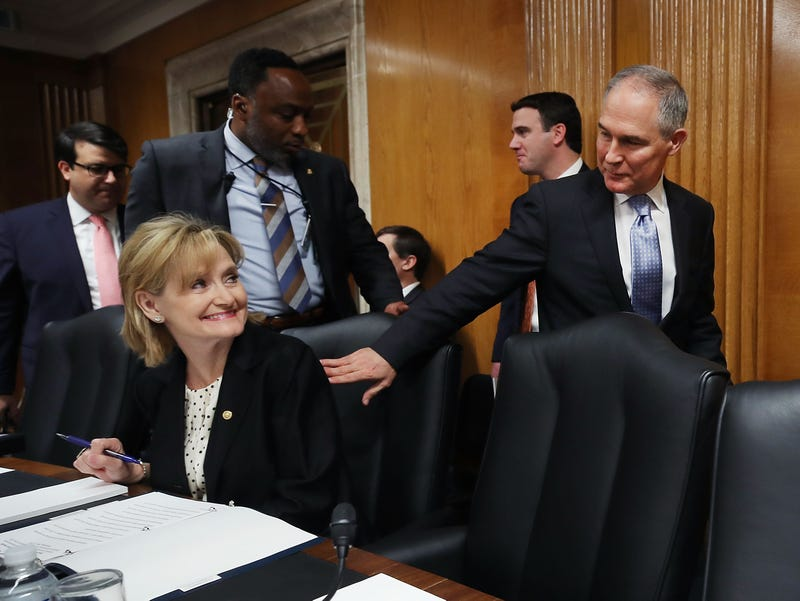 EPA Administrator Scott Pruitt, acknowledges Sen. Cindy Hyde-Smith (R-MI) after arriving at a Senate Appropriations Subcommittee hearing on Capitol Hill, May 16, 2018 in Washington, DC. The Subcommittee is hearing testimony on the proposed budget estimates for FY2019 for the Environmental Protection Agency.