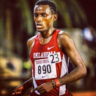 Taken in 2014 when Simbassa ran for the University of Oklahoma. Photo credit: Sooner Sports