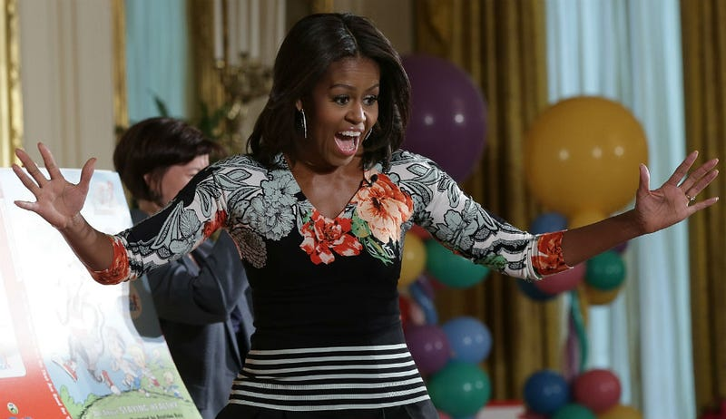 Illustration for article titled Caption This Photo of the Enthusiasm of Michelle Obama