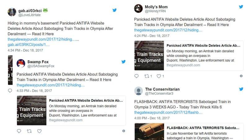 Illustration for article titled Twitter Fools Wonder If Amtrak Train Derailment Was Antifa Sabotage