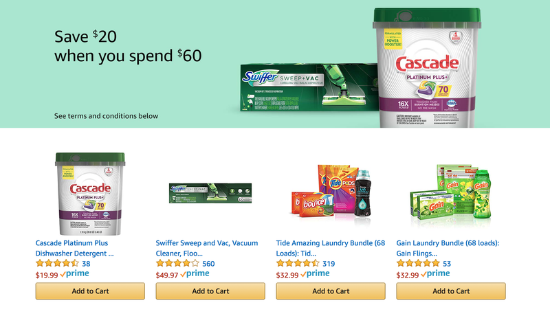 $20 Off $60 Select Household Essentials | Amazon