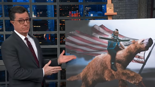 Illustration for article titled Stephen Colbert outdoes Mike Lee with his own GOP prop comedy