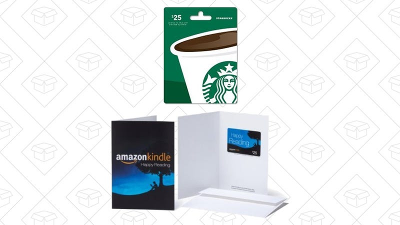 $25 Starbucks Gift Card and $25 Amazon.com Gift Card, $41 with code BIGTHANKS